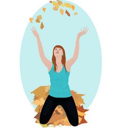beautiful girl in autumn walk vector image