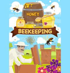 beekeeping barrels of honey and hives vector image