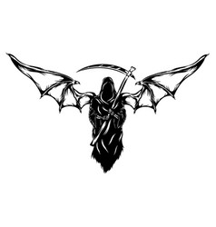 black grim reaper with big bat wings vector image