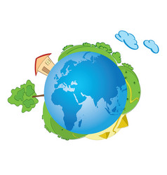 Blue planet earth with nature - green world vector