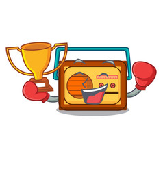 boxing winner radio mascot cartoon style vector image
