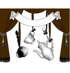 brown curtain with ribbon banner and dishes vector image