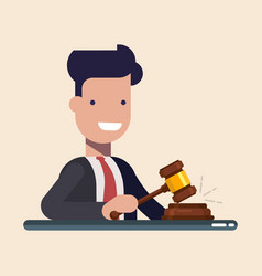 business man or manager hold in hands gavel vector image