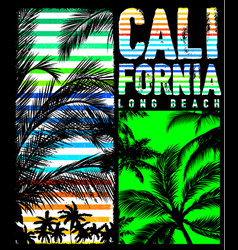 California beach typography tee graphic design vector