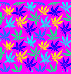 Cannabis leaves bright multicolored seamless vector