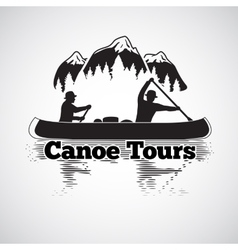 Canoe tours label two man in a boat with vector