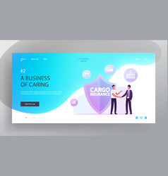 Cargo insurance website landing page businessmen vector