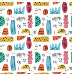 cartoon abstract seamless pattern hand drawn vector image