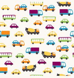 cartoon cars seamless pattern vector image