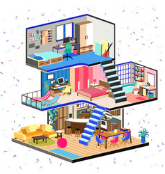 cartoon family house in cut detailed modern vector image