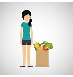 Cartoon girl hair grocery bag vegetables vector