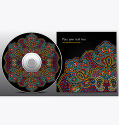 cd design in paisley floral style vector image