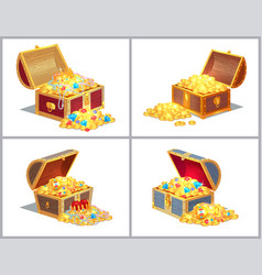 Chest with treasures set vector