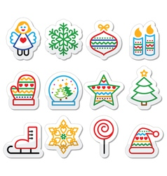 christmas icons with stroke - xmas tree angel sn vector image