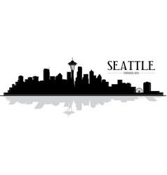city seattle skyline silhouette vector image