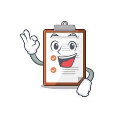 Clipboard scroll mascot design making an okay vector