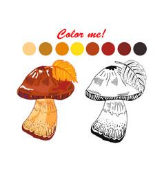 coloring mushroom vector image