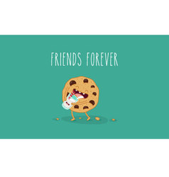 cookie with milk vector image