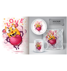 cute bee with heart - mockup for your idea vector image