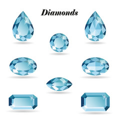 Diamonds set isolated objects vector