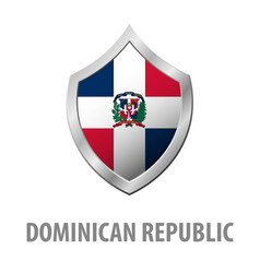 Dominican republic flag on metal shiny shield vector
