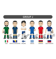 European soccer cup 2020-2021 group j player vector