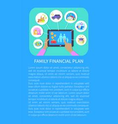 Family financial plan tablet vector
