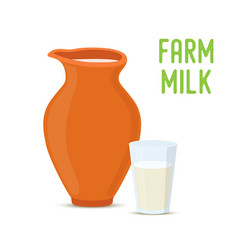 Farm milk in clay pottery jar glass cup vector