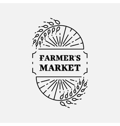 Farmer s Market logo line art icon Wheat field vector