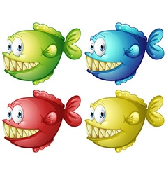 Fish in four different colors vector