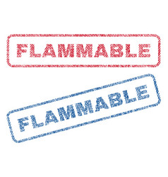 Flammable textile stamps vector