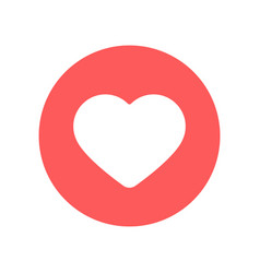 flat red heart icon in red circle vector image