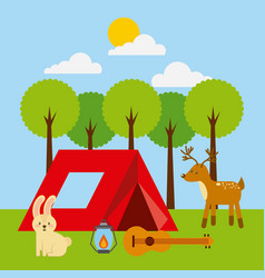 Forest outdoor camp tent animlas guitar and vector