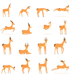 Gazelle icons set cartoon style vector