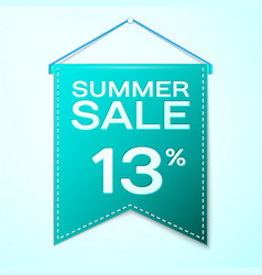 Green pennant with summer sale thirteen vector