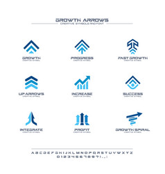 growth arrows creative symbols set font concept vector image