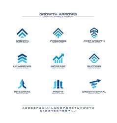 Growth arrows creative symbols set font concept vector