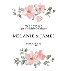 hand-drawn card with flower rose leaves wedding vector image