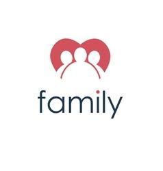 Happy family icon in heart vector