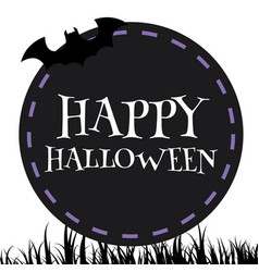happy halloween bat black circle frame background vector image