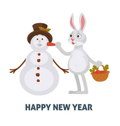 happy new year poster rabbit with carrot creating vector image
