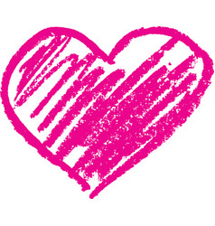 Heart shape outline drawn with a wax crayon vector