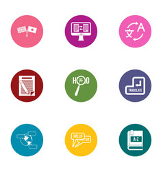 hello icons set flat style vector image