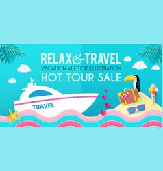 hot vacation design template summer travel enjoy vector image