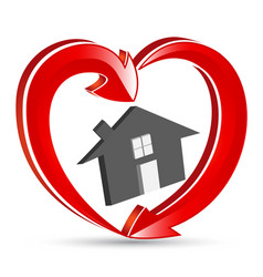 House with heart shape arrows logo vector