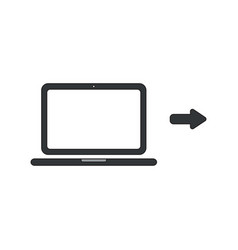 icon concept laptop computer with arrow right vector image