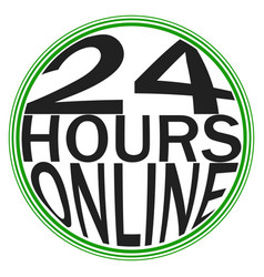 icon logo service 24 hours online round logo vector image