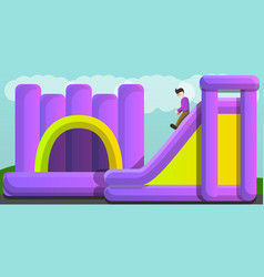 Inflated jumping castle and slide concept banner vector