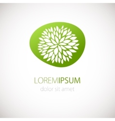 Logotype design with flower green background vector