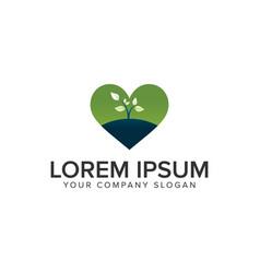 Love plant nature logo design concept template vector